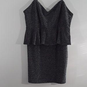 FOREVER 21 Black Glitter Strappy Peplum Waist Dres